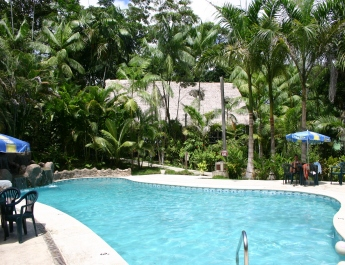 """Ceiba Tops Lodge, which has 75 rooms,<BR> is an hour from Iquitos by boat""""><img src="""