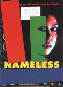 Nameless, 2003 <BR> collage e pittura su manifesto,<BR> cm 140 x 100″><img src=
